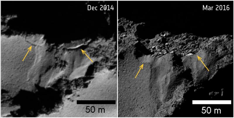 Oberwanie klifu na komecie 67P/Czuriumow-Gierasimienko (ESA)