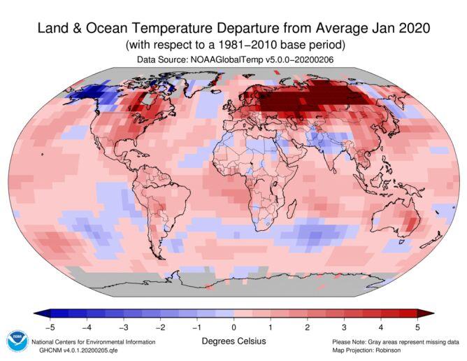 Odchylenie średniej temperatury lądu i oceanów w styczniu 2020 od normy z lat 1981-2011 (NOAA)