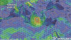 Prognozowane położenie cyklonu w sobotę o godz. 8