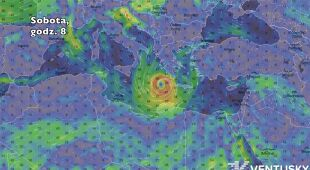 Prognozowane położenie cyklonu (Ventusky.com)