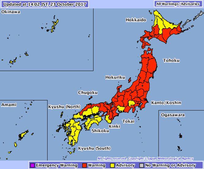 Zagrożone regiony w Japonii (źródło: JMA)