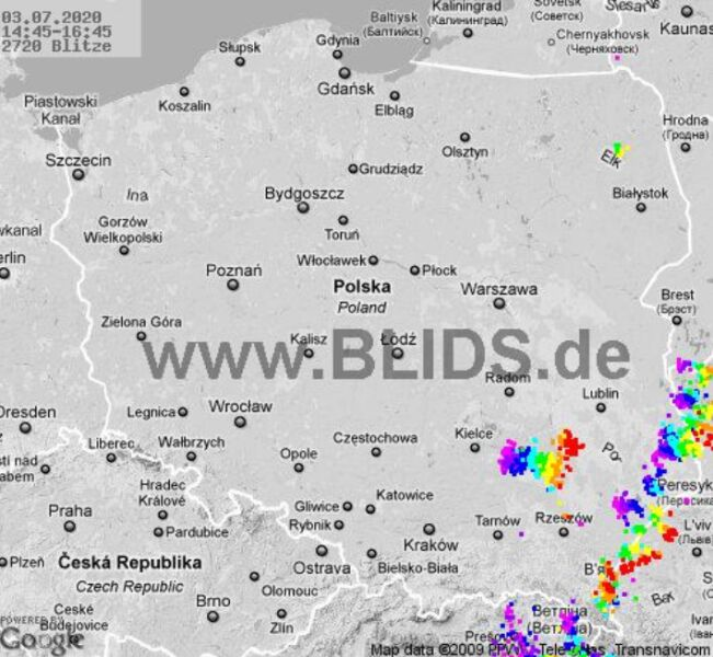 Ścieżka burz nad Polską (godz. 14.45-16.45) (blids.de)