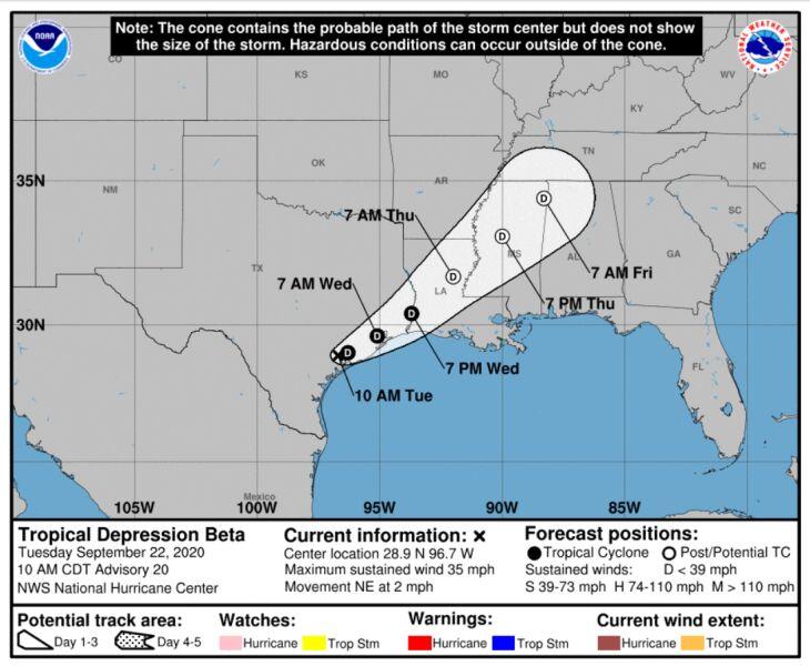 Lokalizacja depresji tropikalnej Beta (NHC/NOAA)