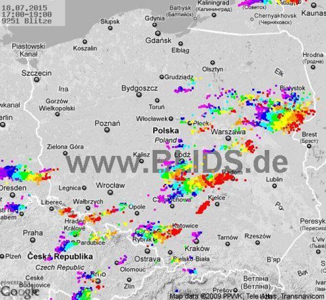 Burze w Polsce w godz. 17-19